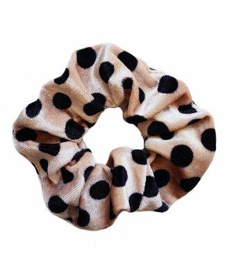 Velvet scrunchie - Camel dots