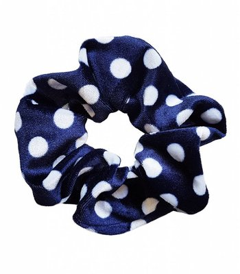 Velvet scrunchie - Blue dots