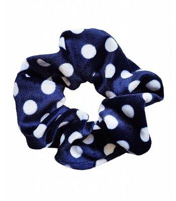 Velvet scrunchie - Blue dots