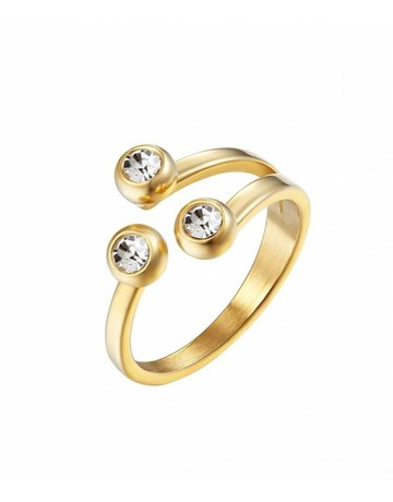 Diamond dots ring gold maat 16,5