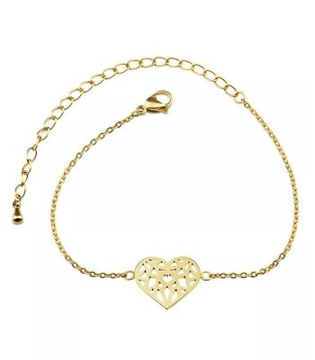 Geometric heart bracelet gold