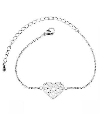 Geometric heart bracelet silver