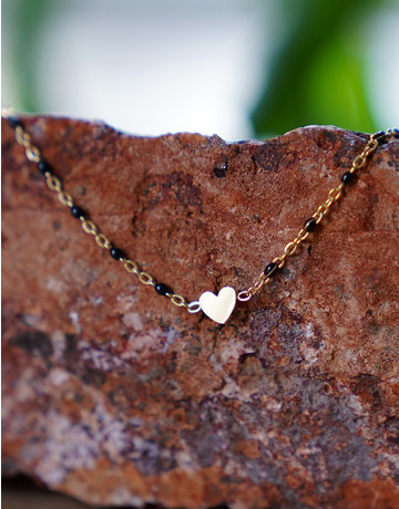 Sprinkled Heart Black - Gold