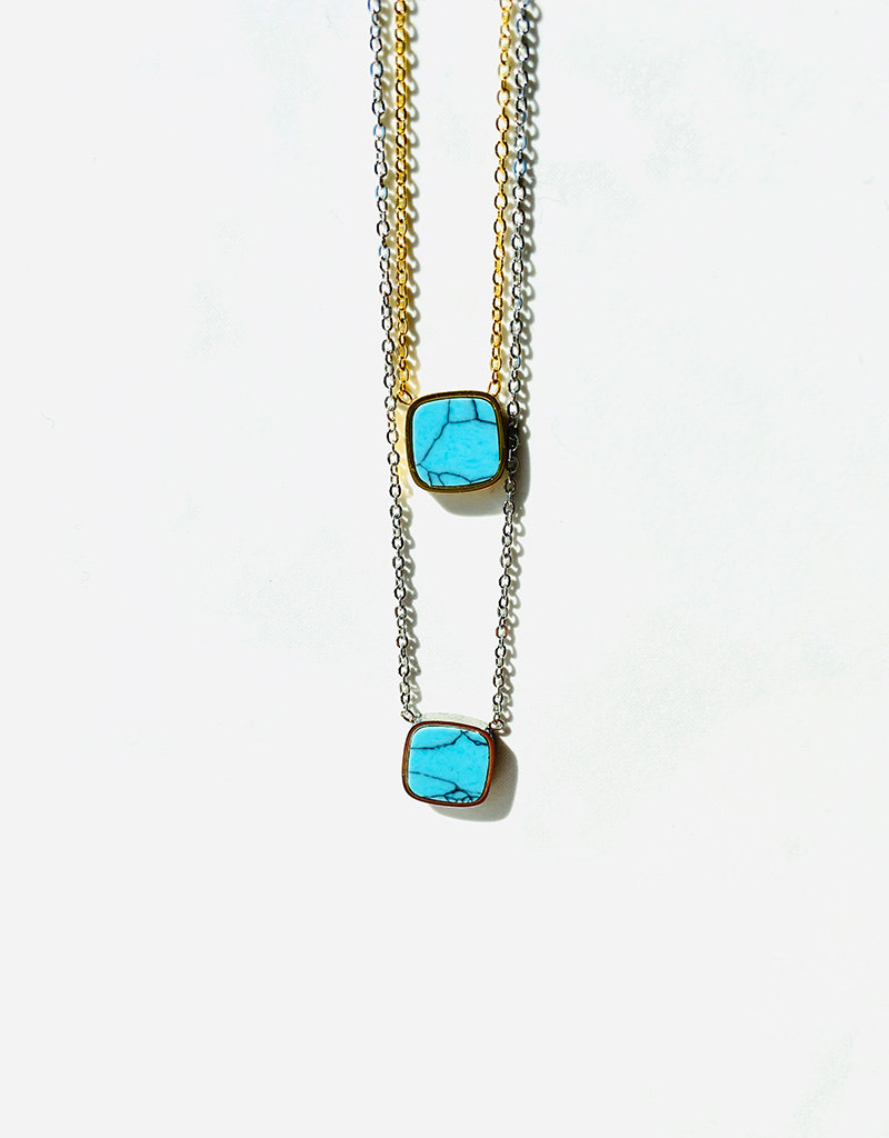 Marbre Bleu Necklace in Silver
