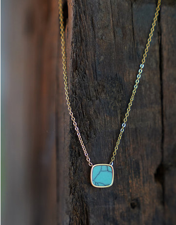 Marbre Bleu Necklace in Gold