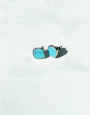 Marbre Bleu Earrings in Silver
