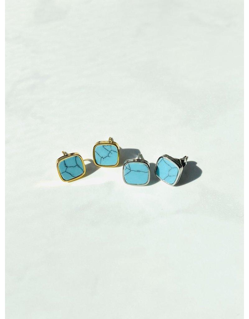 Marbre Bleu Earrings in Gold