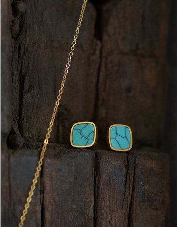 Marbre Bleu Earrings in Gold
