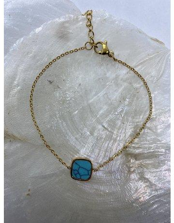 Marbre Bleu Bracelet Gold