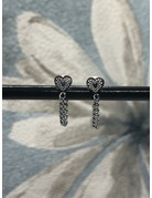 Oorhangers Heart and chain zilver