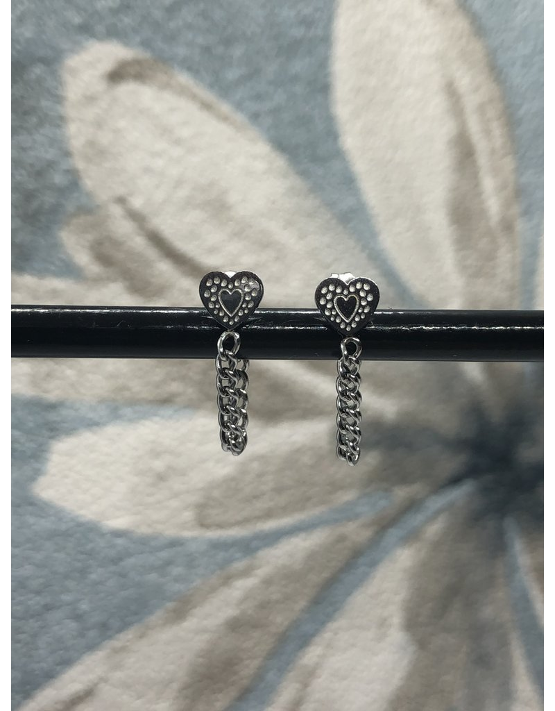 Earrings Heart and chain silver