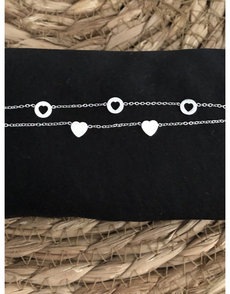 Romantic stainless steel armband zilver