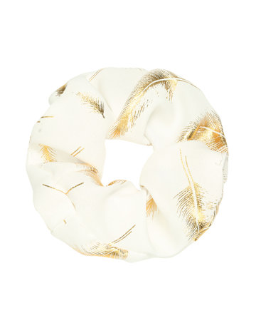 Scrunchie White with feathers