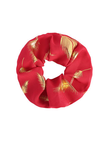 Scrunchie Red with feathers