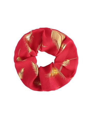 Scrunchie Rood met veertjes
