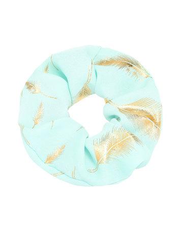 Scrunchie Turquoise met veertjes