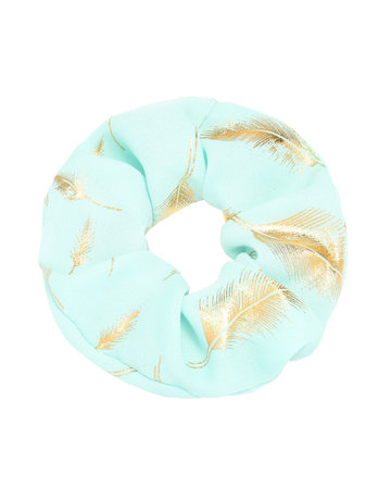 Scrunchie Turquoise with feathers