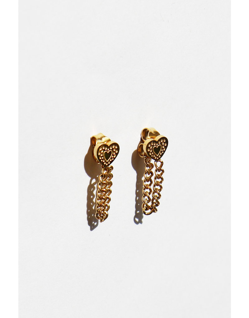 Earring Heart and Chain Gold!