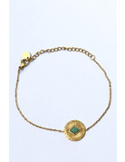 Gouden armband Green stone