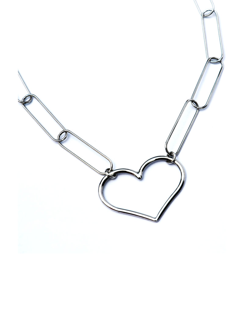 Silver necklace Link my heart