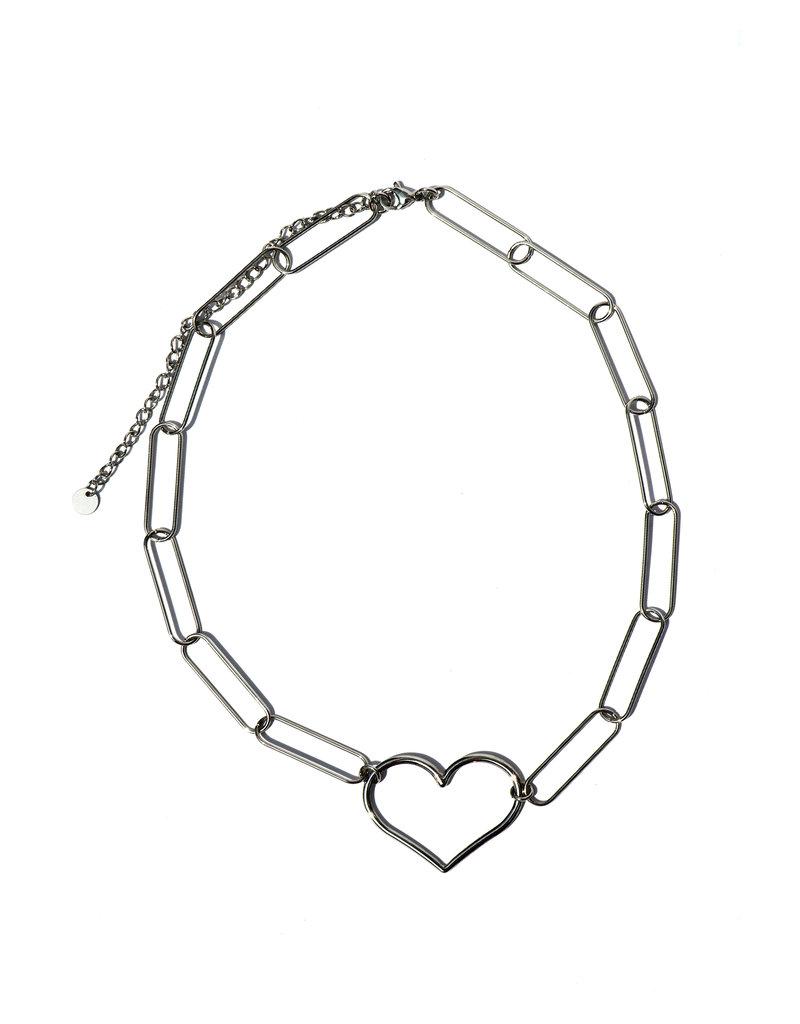 Zilver ketting Link my heart