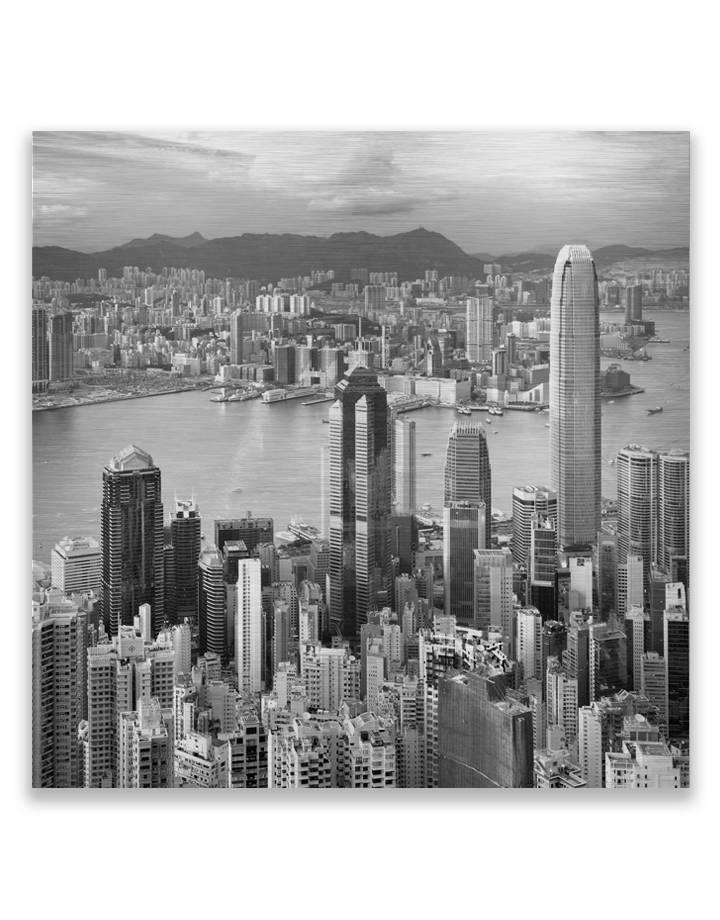 City Hong Kong op dibond - 3 mm dik butler finish zilver
