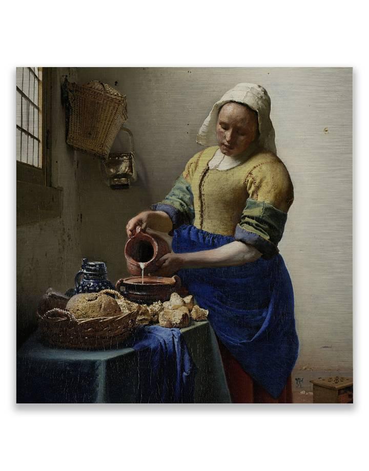 Vermeer Melkmeisje op dibond - 3 mm dik butler finish zilver
