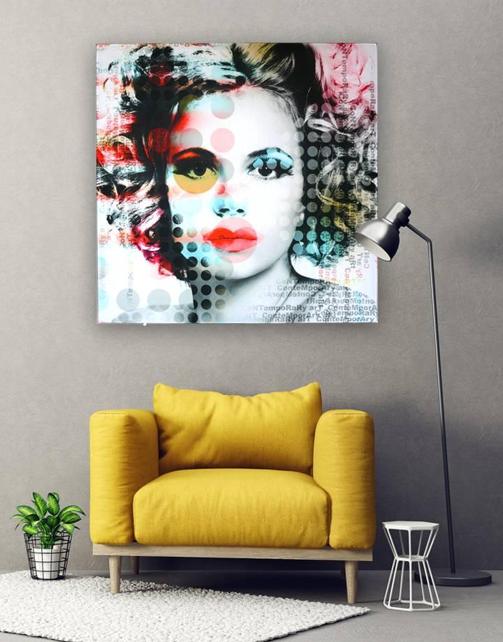 Marilyn  op  Textieldoek - de mooiste wanddecoraties in een alu frame