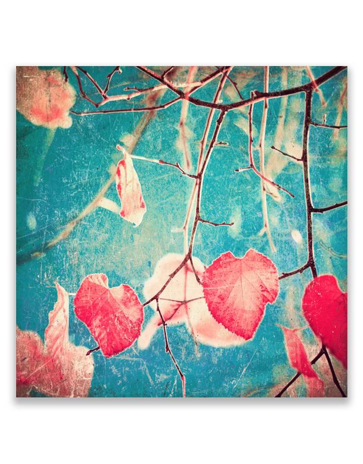 Roze herfstbladeren 5mm print - fraaie glas look van jouw foto's