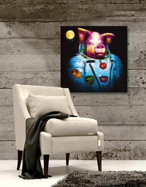Pig in Space | artprint in Pro Line zwarte aluminium lijst