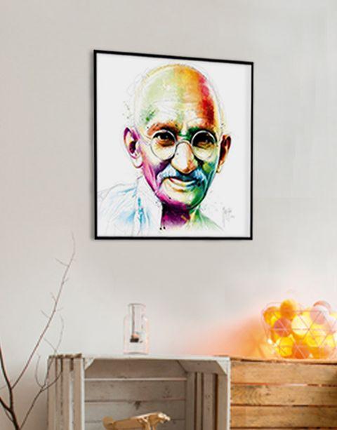 Ghandi | artprint in Pro Line zwarte aluminium lijst
