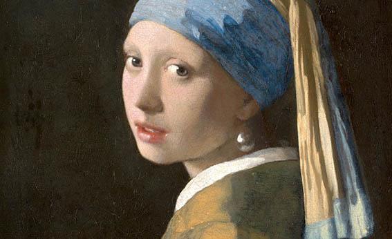 Meisje met de parel op textieldoek