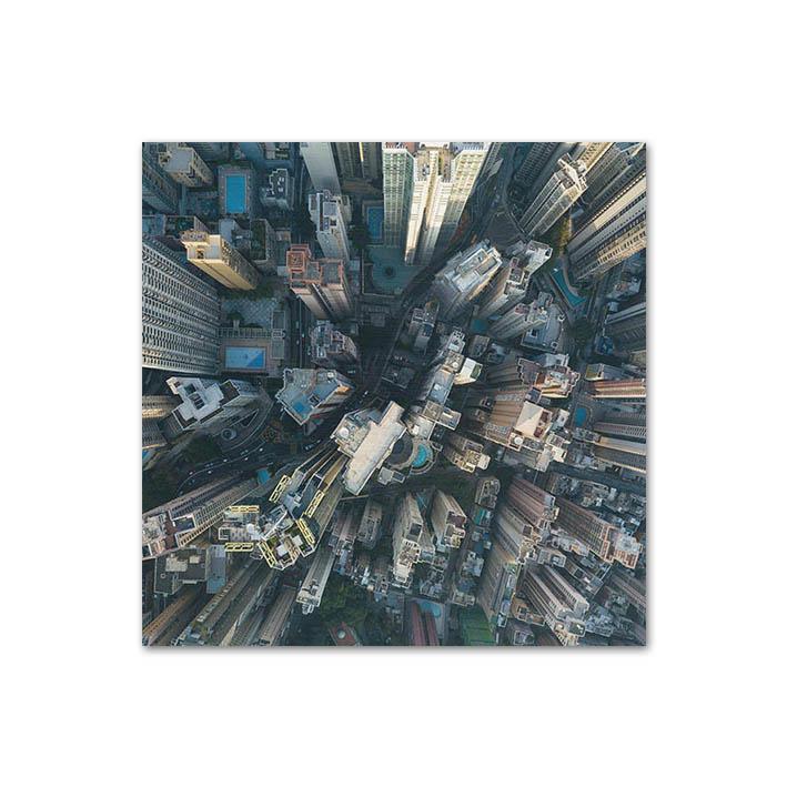 Wolkenkrabbers HongKong op dibond