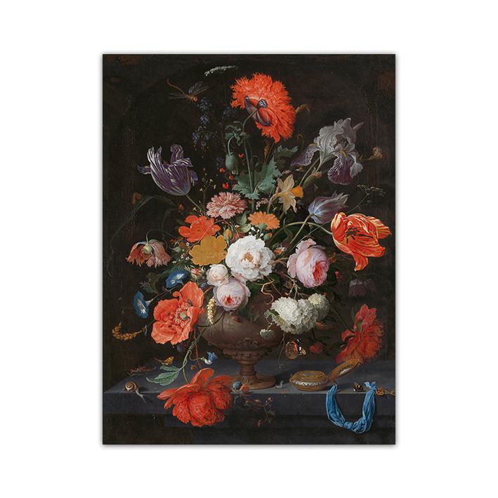 Stilleven met bloemen op plexiglas