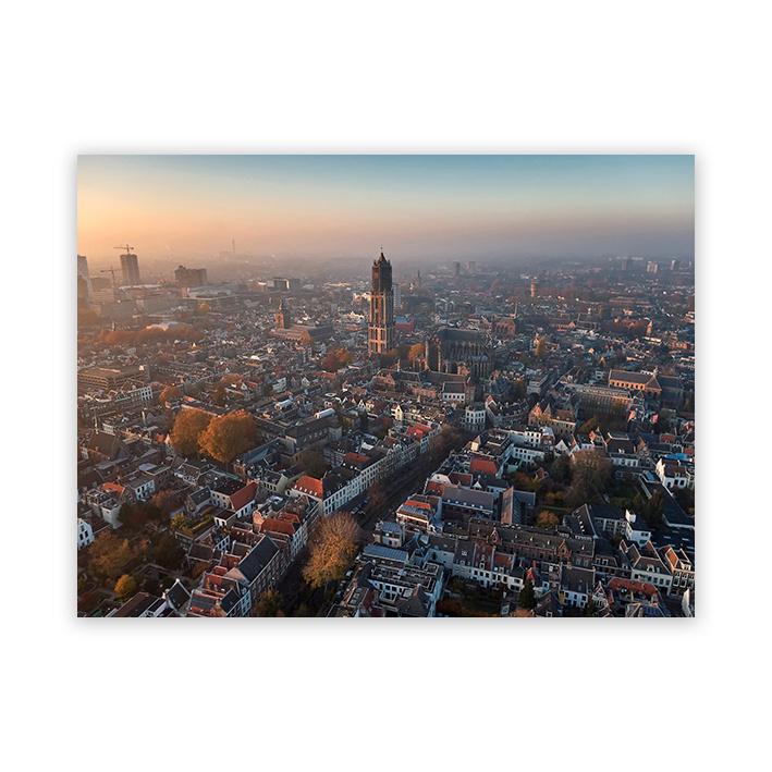 Uitzicht over Utrecht op plexiglas