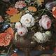 Stilleven met bloemen - Abraham Mignon op Textieldoek