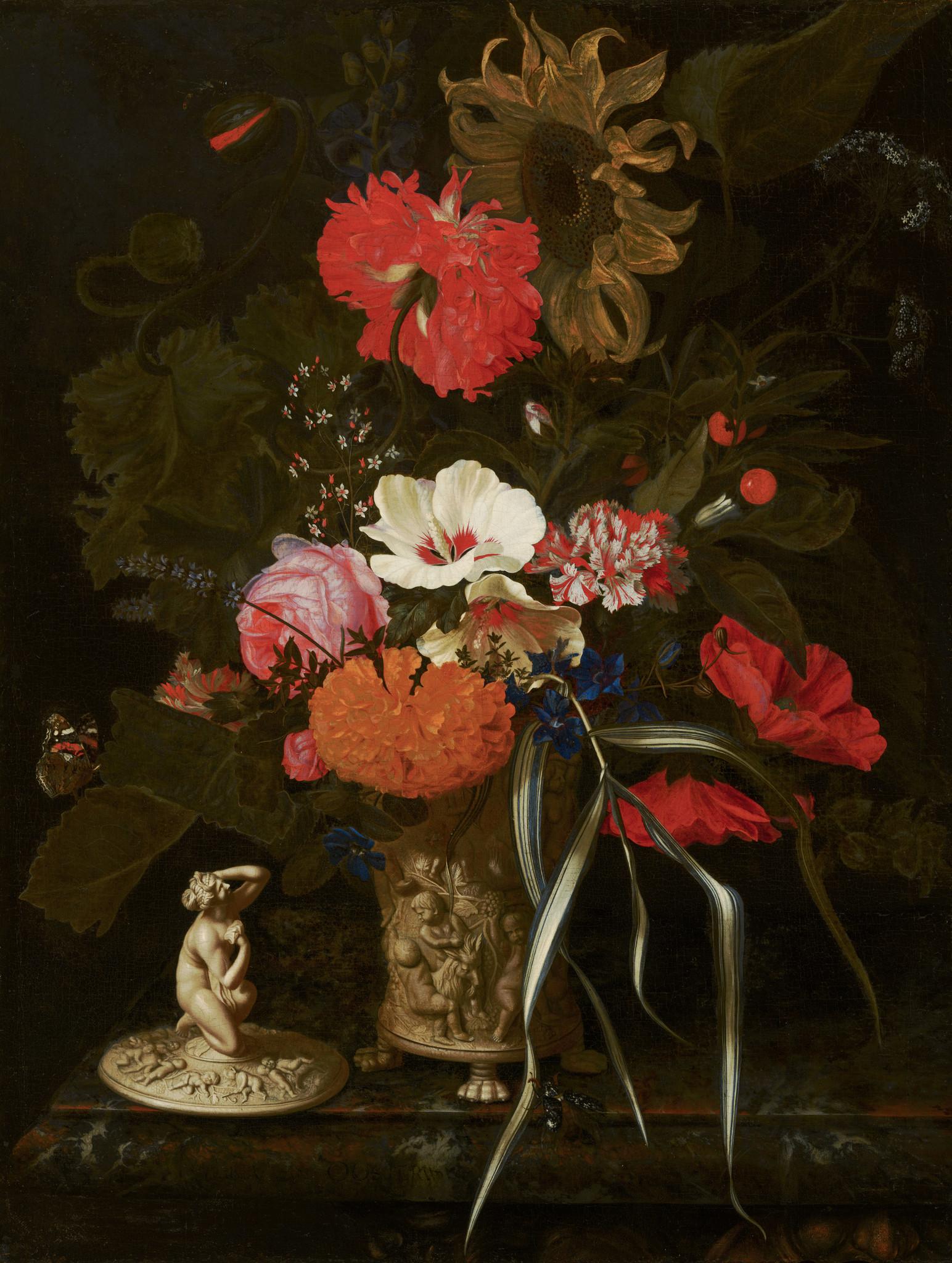 Textieldoek Bloemen in versierde vaas.