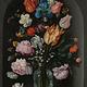 Textieldoek Bloemen in glazen fles.