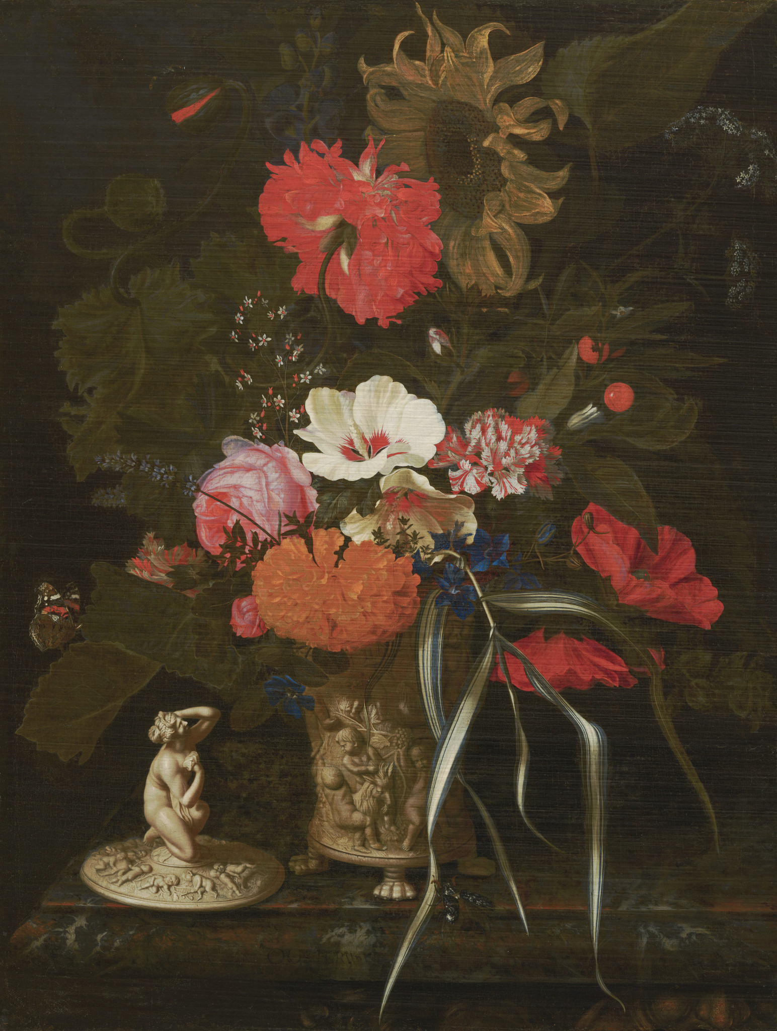 Bloemen in versierde vaas op Dibond.
