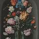Bloemen in glazen fles op Dibond