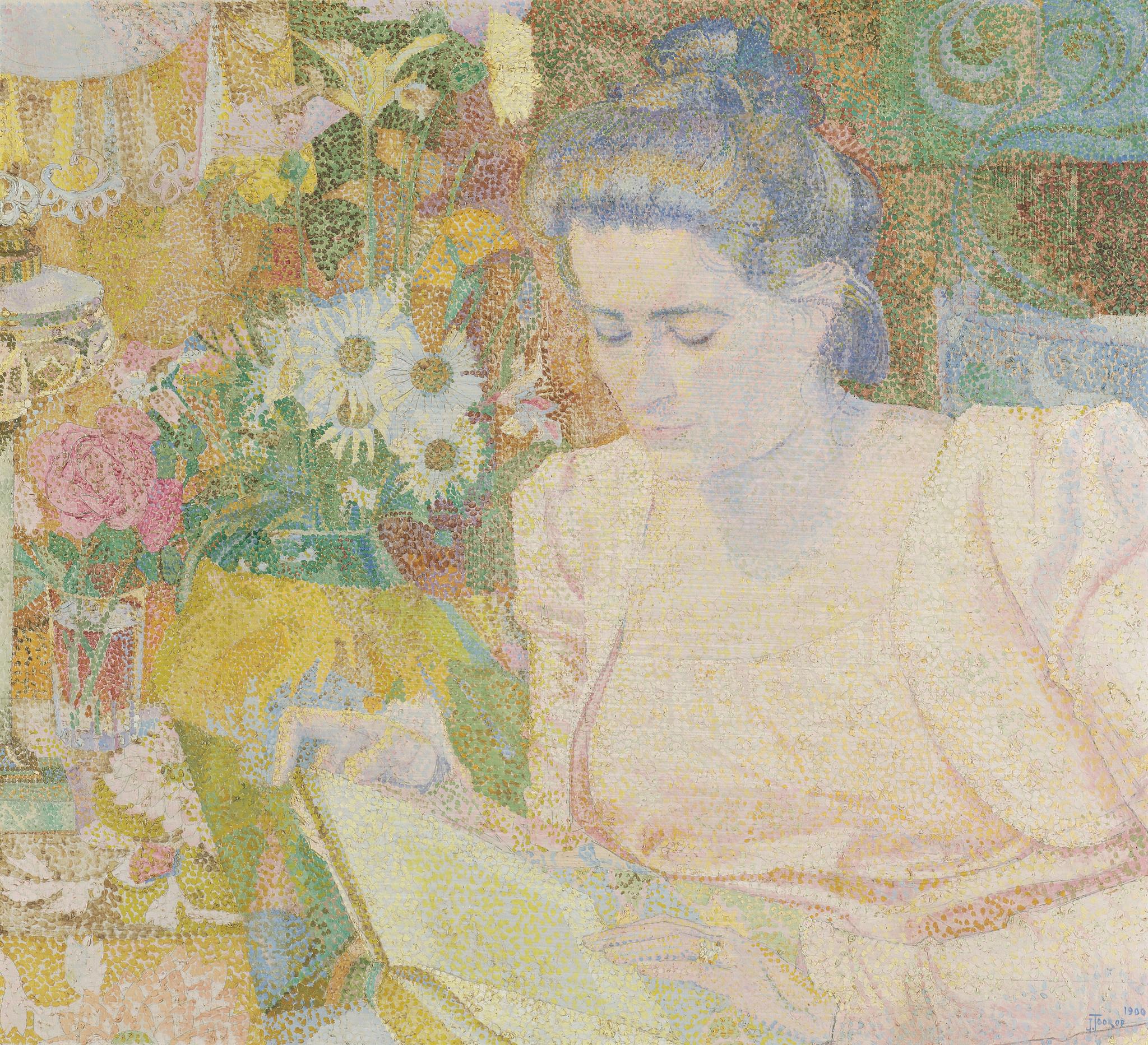 Portret van mevrouw Marie Jeannette de Lange op Dibond