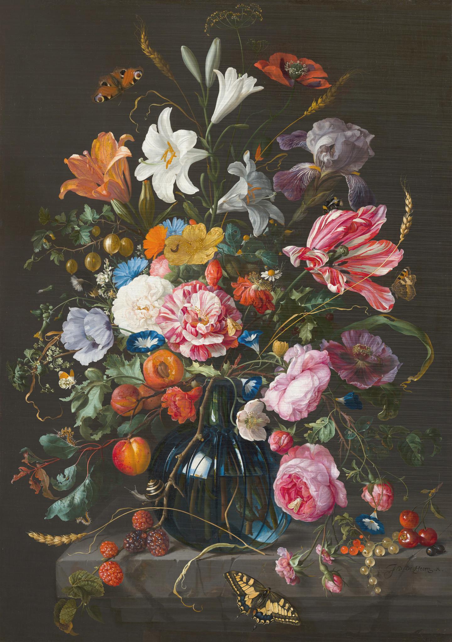 Glazen vaas met bloemen door Jan Davidsz de Heem op Dibond