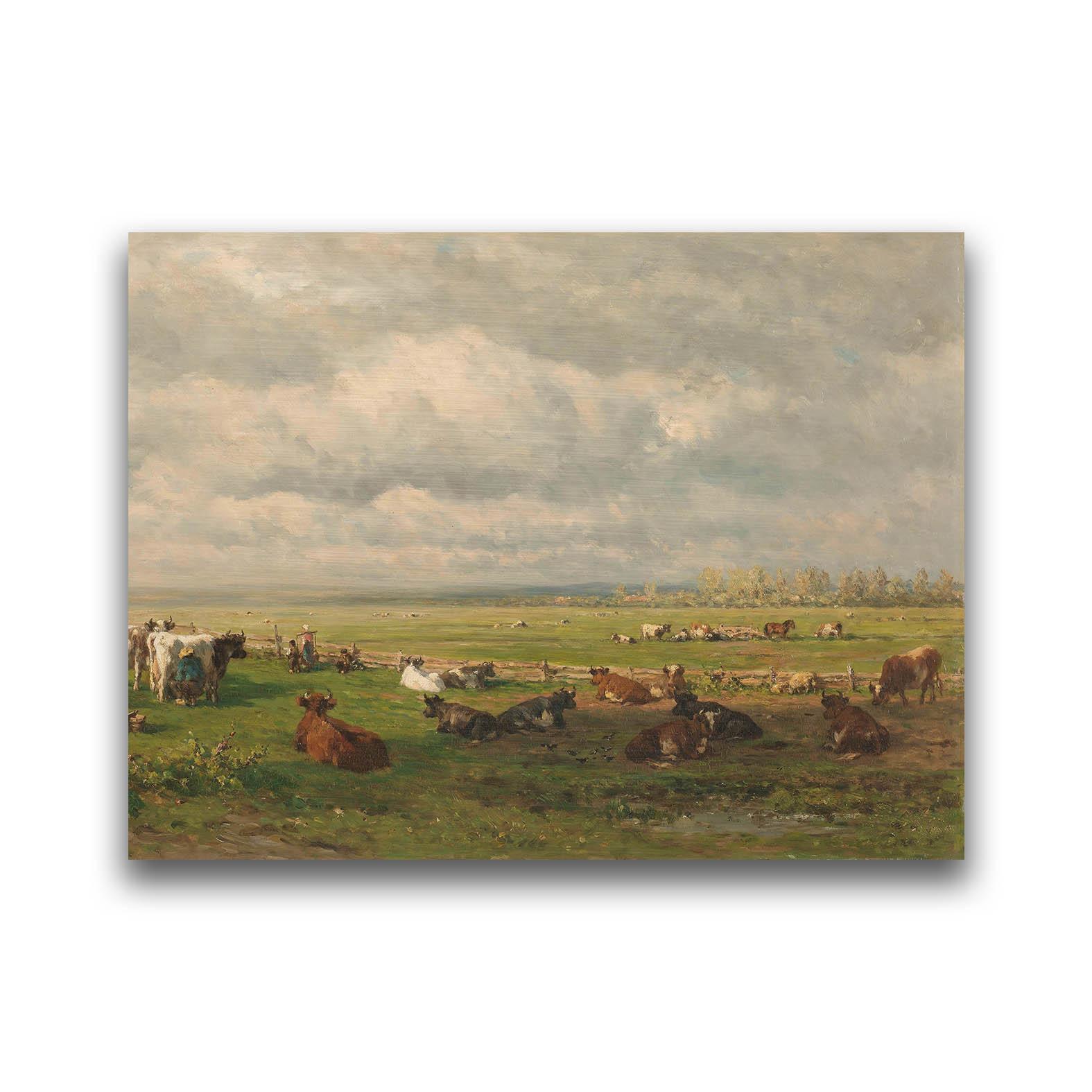 Weidelandschap met vee op dibond