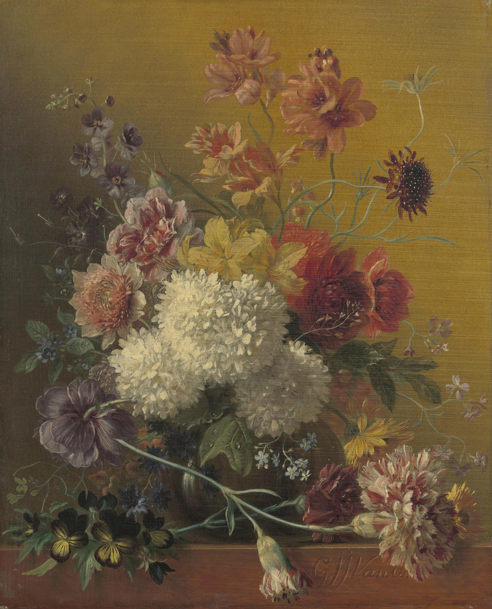 Stilleven met bloemen - op Dibond