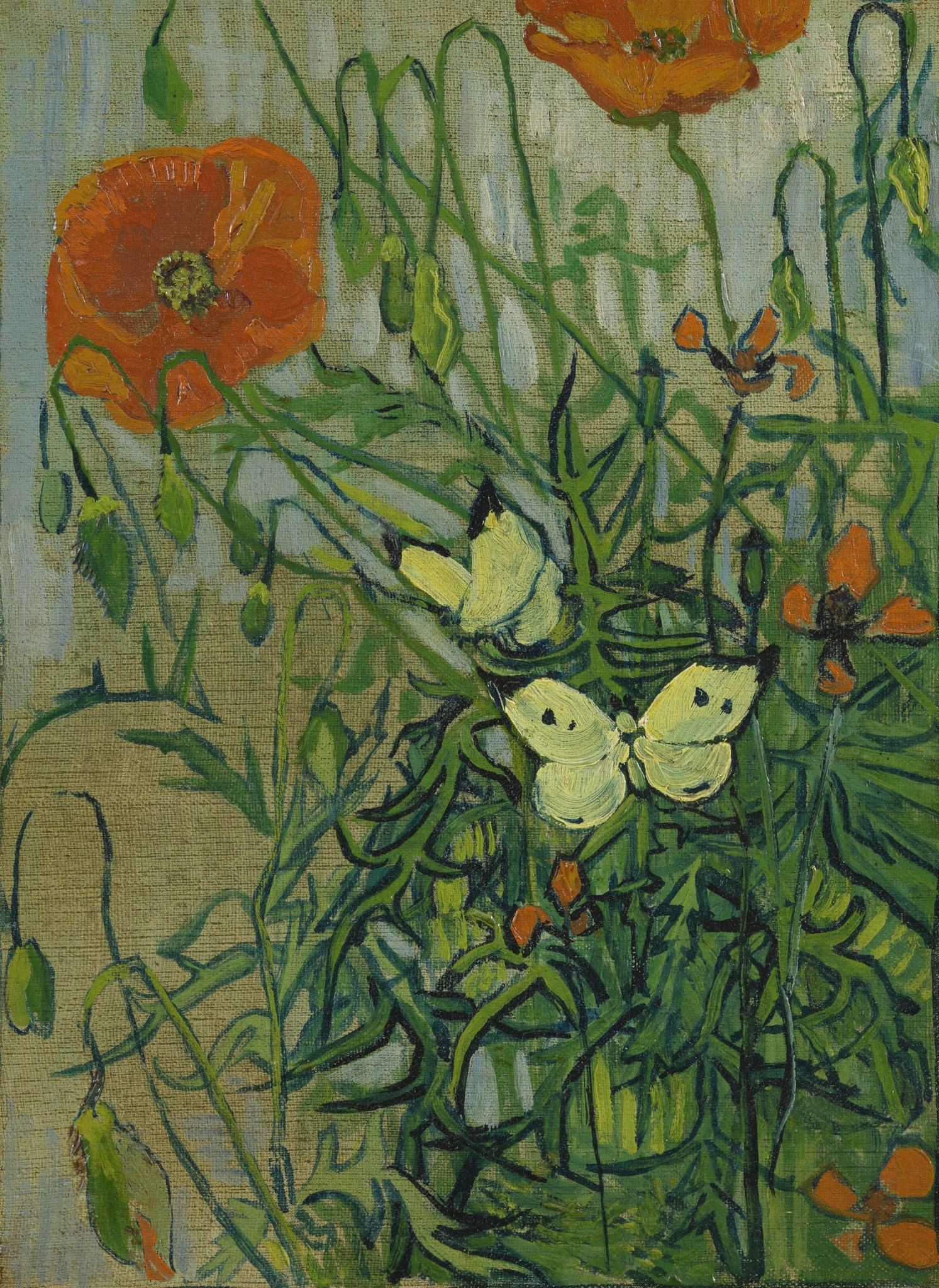 Vlinders en Klaprozen op Textieldoek