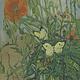 Klaprozen en vlinders - Van Gogh op Dibond