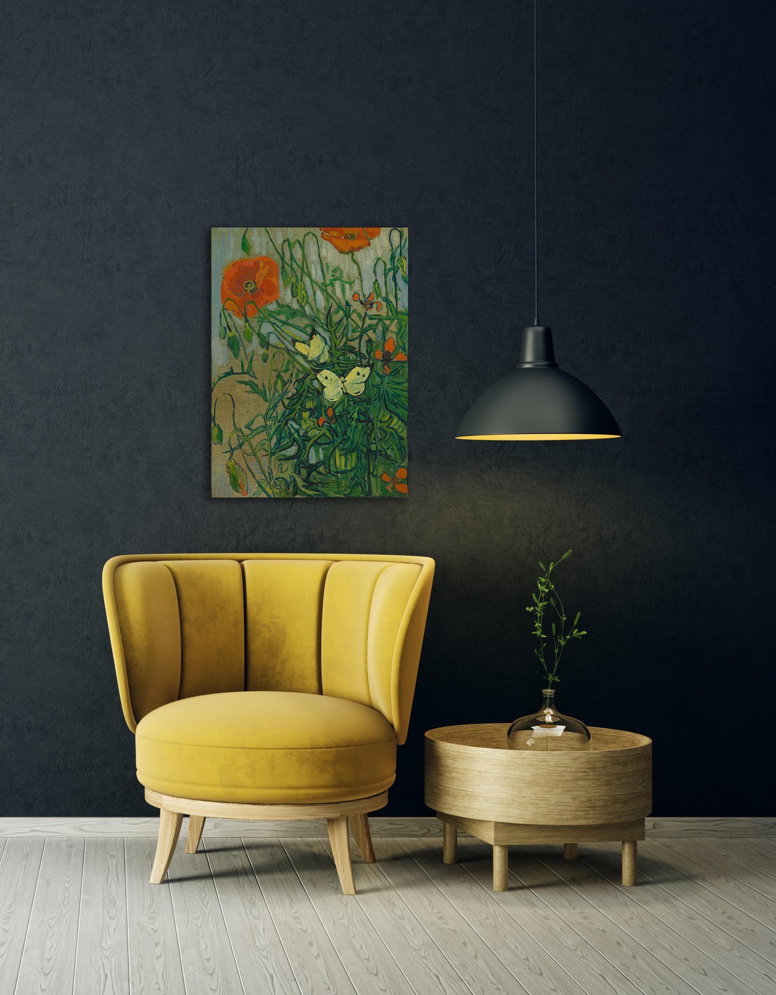 Klaprozen en vlinders - Van Gogh op Plexiglas
