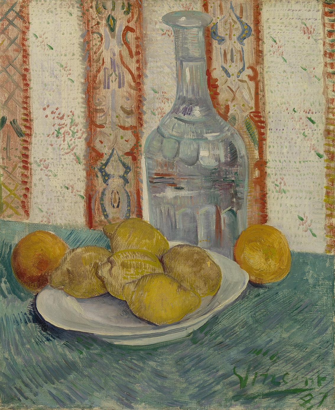 Karaf en schotel met citrusvruchten - Van Gogh op Textieldoek