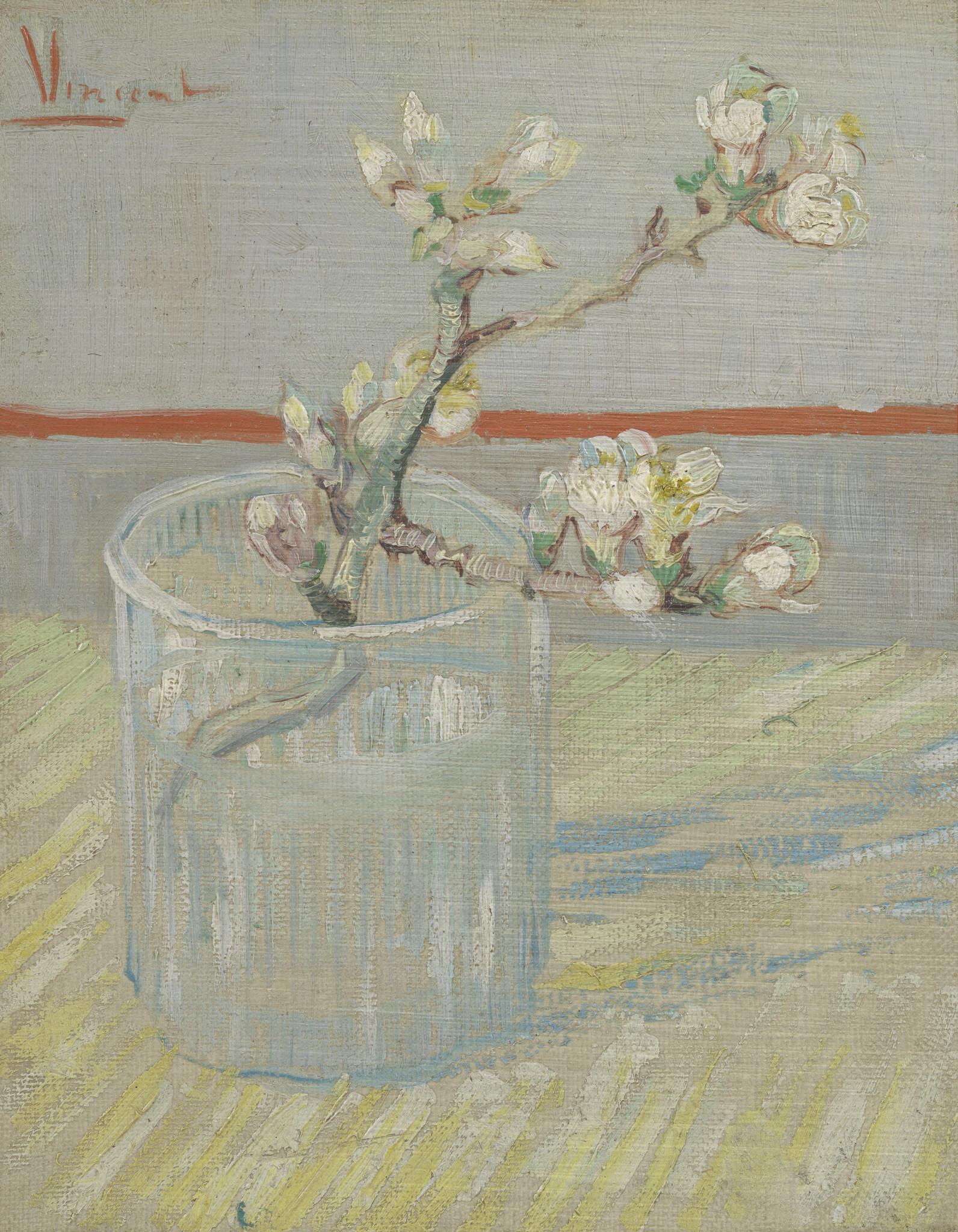 Bloeiend Amandeltakje in een glas - Van Gogh op Dibond