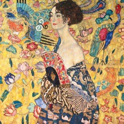 Vrouw met waaier   80 x 80 cm   Natuurpapier (structuur)